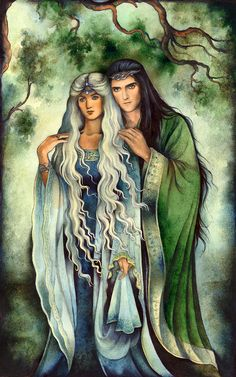 The daughter of Galadriel and Celeborn, Celebrían wedded Elrond and bore him Arwen Evenstar. Attacked by orcs in the Misty Mountains, she was rescued by her sons Elladan and Elrohir but took a ship into the West soon after. Tolkien Books, J. R. R. Tolkien, Thranduil, Legolas, Das Silmarillion, Universe Love, Into The West, Fairytale Art, Historical Art