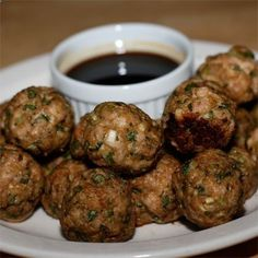 Chinese-Style Turkey Meatballs These addictive (and kid-pleasing!) meatballs taste like Chinese dumplings and the sweet dipping sauce makes them totally over-the-top irresistible
