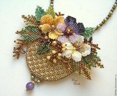 """Купить Брошь-кулон """"Корзиночка"""" - разноцветный, брошь, кулон, брошь с цветами, корзина с цветами, корзиночка"""