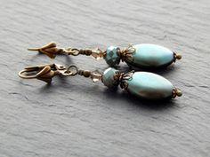 Ohrringe - Samtgrün von Perlenfontäne auf DaWanda.com