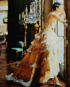 Exquisite gown by Christian Dior worn by Maxime de la Falaise, 1950