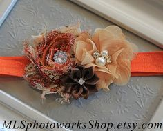 Rich Shades of Autumn Baby Girl Headband - Fall Colors Flower Hair Bow for Babies, Toddlers, & Little Girls - Orange, Tan, Brown Headband