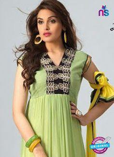 NS12078 Green and Yellow Chiffon Anarkali Suit
