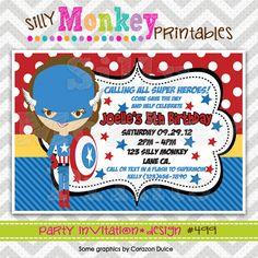 499: DIY - Super Hero Girl Party Invitation Or Thank You Card. $12.95, via Etsy.