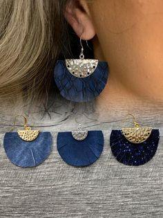 Diy Denim Earrings, Nautical Earrings, Fabric Earrings, Fabric Jewelry, Feather Earrings, Blue Earrings, Beaded Earrings, Earrings Handmade, Handmade Jewelry Designs