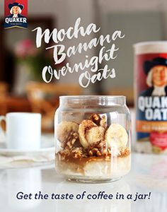 Your morning mocha doesn't need to be sipped from a mug. Quaker® Mocha Banana Overnight Oats means you can get your taste of coffee...in a jar! Ingredients: ½ cup milk, ½ cup Quaker® oats, processed slightly in a blender, ½ tablespoon cacao powder, ½ tablespoon chia seeds, 1 teaspoon maple syrup, ½ shot warm espresso, ¼ vanilla bean, seeds scraped or 1/16 tsp vanilla extract, ⅛ teaspoon cinnamon, ½ banana, sliced, ½ tablespoon walnuts, crushed, maple syrup to taste to serve