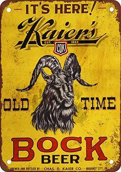 Kaier's Bock Beer Vintage Look Reproduction Metal Sign 7x10