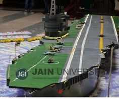 Students of Jain University designed a huge 22 foot model of INS Vikrant, India's first aircraft carrier on the occasion of Independence Day 2016. Source: Jain University Facebook page