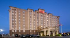 Hampton Inn & Suites Toronto Airport Ontario Mississauga Ideally located within 3 km of Pearson International Airport in Mississauga, Ontario, this hotel offers on-demand airport shuttle service as well as convenient access to area highways for easy travel in Toronto.