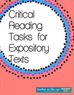 For use with any expository text/article! Grades 7-10. CCSS-aligned! $