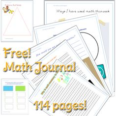 Math Journal free printable pages (link doesn't work - left comment for owner: need to check back)