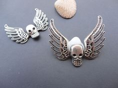 10pcs 51mmx45mm skeleton wing skull wing Antique Silver Retro Pendant Charm For Jewelry Pendant