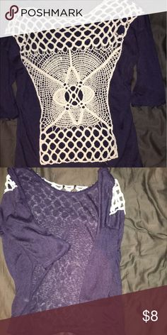 Shirt Three quarter blue knitted shirt. Tops Blouses
