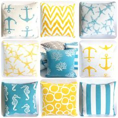 11 Sizes Available: One Light Blue or Yellow Pillow Cover ZIPPER Coral Decorative pillow cover Beach pillow cover by Pillomatic on Etsy https://www.etsy.com/listing/219750973/11-sizes-available-one-light-blue-or