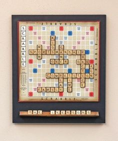 Scrabble Word Play Wall Decor relating to family. Scrabble Tile Crafts, Scrabble Wall Art, Magnetic Scrabble Board, Magnetic Letters, Scrabble Letras, Game Room Decor, Wall Decor, Book Themed Nursery, Games