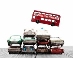 Car Pile The Red Bus Jump on White and Grey #art #photography @EtsyMktgTool http://etsy.me/2ixLthC