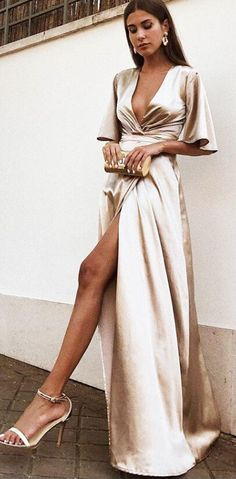 A-Line Deep V-Neck Champagne Satin Evening Prom Dress with Split 7754ad81fa15