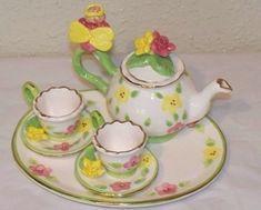 "Dollhouse Miniature /""Oversized/"" Navy Dolls Tea Set"