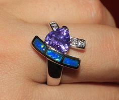 blue fire opal Amethyst Cz ring Gemstone silver jewelry Sz 8.5 cocktail BW2 #Cocktail
