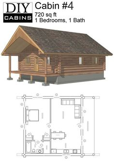 Log Cabin #1 is a 600 sq ft, 1 bedroom and 1 bathroom design