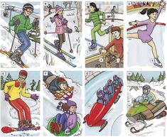 Winter sports and recreation vocabulary and conversation. English lesson in PDF