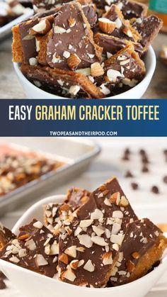 Graham Cracker Toffee, Graham Cracker Recipes, Recipes With Graham Crackers, Graham Cracker Dessert, Graham Cracker Cookies, Christmas Crack Recipe Graham Crackers, Cracker Candy, Easy Dessert Bars, Bon Dessert