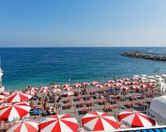 High Angle View of a Beach with Rows of Beach Umbrellas and chairs, Amali, Campania, Italy by George Oze, via Flickr