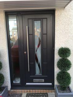 An Anthracite Grey Vermont with Haze glass Brick Porch, Front Door Porch, House Front Door, House Doors, Modern Entrance Door, Modern Exterior Doors, Modern Front Door, Composite Front Doors Uk, West Facing House