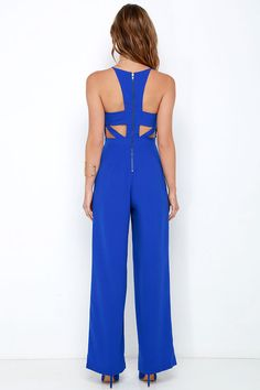 Shoot for the Sky Cobalt Blue Jumpsuit Sponsored by Lulus.com