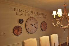 So many possibilities for clocks on the wall ~ this could also be done with each clock set to a time in a different city or country ~ VREELAND ROAD: A beautiful holiday home tour