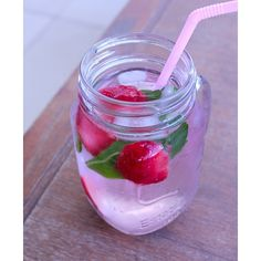Sometimes it can be hard when your trying to ween yourself off soft drink/energy drinks and drink more water  so infusing your water is an awesome idea!  There are so many combos but my personal favourite is strawberry and mint leaves in a cute little mason jar  #Padgram