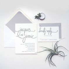 chic minimalist wedding stationery - Read more on One Fab Day: http://onefabday.com/black-and-white-wedding-stationery/