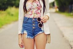 summer#outfit#sunglasses#top#short#jeans