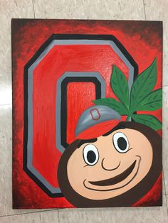 Brutus and his Buckeyes painting Ohio State Football, Ohio State Buckeyes, Ohio State Canvas, Ohio State Crafts, Buckeye Crafts, Sports Painting, Paint And Sip, Barn Quilts, Rock Crafts