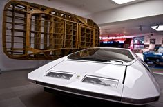 "Ferrari PF Modulo. Again, not really into sports cars - but, seriously? How friggin awesome is this? Even the design ""skeleton"" on the wall is fascinating!"