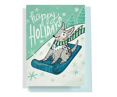 Holiday Card: Adorable dog sledding down a hill, hand-lettered and illustrated vintage-feel greeting card