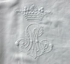 Superb Large White Linen Antique Sheet Embroidered with LM/ML monogram