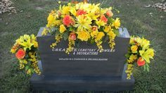 Deluxe Cemetery Silk Flower Headstone Saddle Plus Matching Vase Bushes
