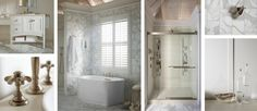 This relaxing beach-house retreat blends a palette's worth of white shades for a casual, tropical vibe that's just right for relaxing. A marble floor feels cool on sun-warmed toes, and extends up the wall for a clean look with visual texture. Add spa-like luxury with a freestanding tub and programmable, personalized shower, and you can skip the day spa in favor of your own perfectly private space.