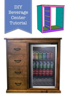 DIY Beverage Center Tutorial! Build your own for a coffee bar, drink storage, or a snack station in your bonus area.   Pretty Handy Girl   #prettyhandygirl #diybeveragecenter #diycoffeebar #diystorage #drinkstorage #snackstorage Snack Station, Coffee Bar Station, Handmade Furniture, Diy Furniture, Automotive Furniture, Automotive Decor, Furniture Making, Vintage Furniture, Furniture Design