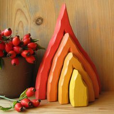 FIRE of 4 - traditional waldorf toy (really love how this one is carved)