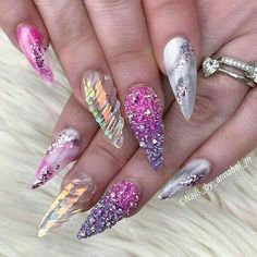 🔥Pixies Crystals AB 1440 pcs For Micro Dust Nail Art Caviar Manicure Swarovs Unicorn Nails Designs, Unicorn Nail Art, Fancy Nails, Bling Nails, Glitter Nails, Gorgeous Nails, Pretty Nails, Crome Nails, Nagel Bling