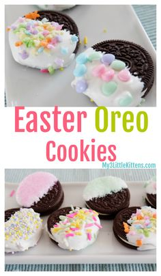 These Easter Oreo Cookies are perfect of kids of all ages! Such a fun dessert re. These Easter Oreo Cookies are perfect of kids of all ages! Such a fun dessert recipe to make! Easter Deserts, Easy Easter Desserts, Easter Snacks, Holiday Desserts, Easter Oreo Recipes, Cute Easter Treats For Kids, Easter Baking Ideas, Oreo Cookie Recipes, Easter Food