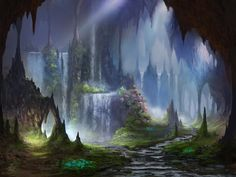 Pin lighting, color harmony, and S curves were used in the design of this image. I imagine a world underground where waterfalls, split by stalagmites, cut caverns through the soft limestone.&...