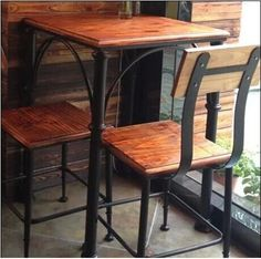 muebles de hierro y madera - Buscar con Google Iron Furniture, Steel Furniture, Industrial Furniture, Custom Furniture, Furniture Design, Wood Steel, Wood And Metal, Cafe Bar, Top Table Ideas