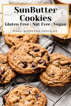 Amazing gluten free and vegan SunButter (Sunflower seed butter) cookies with chocolate chips and sweetened with coconut sugar. Nut Free Cookies, Gluten Free Chocolate Chip Cookies, Chocolate Recipes, Chocolate Chips, Gluten Free Baking, Gluten Free Desserts, Vegan Desserts, Healthier Desserts, Vegan Food