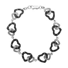 Marcasite and CZ Heart-Shaped Sterling Silver Bracelet