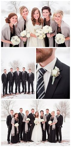 A Wedding That's Black and White and Snow All Over