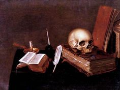 A Vanitas Still Life with a Candle, an Inkwell, a Quill Pen, a Skull and Books by Michael Konrad Hirt - Canvas Art Print Painting Still Life, Still Life Art, Vanitas Paintings, Danse Macabre, Memento Mori, Canvas Art Prints, Quilling, Les Oeuvres, Book Art