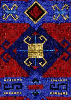 "Prayer Rug ""30 x 18"" Orsoni smalti & mosaic gold Donna Young 2004"